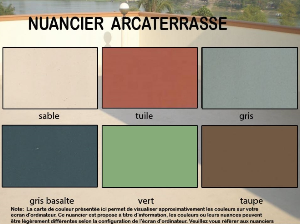 Peinture tanche pour un sol arcaterrasse arcane for Nuancier peinture facade exterieure